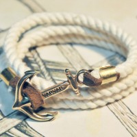 "Браслет с якорем из Латуни ""Great Traveller White rope"""